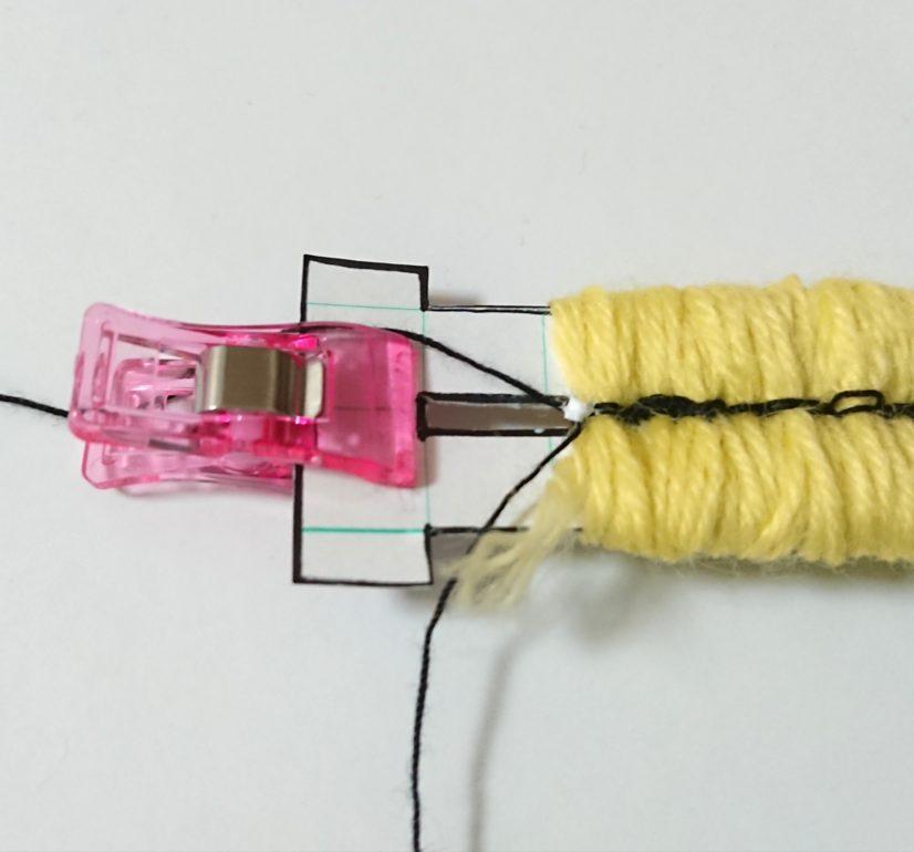 ロングぽんぽん 連結用糸とりつけ⑤